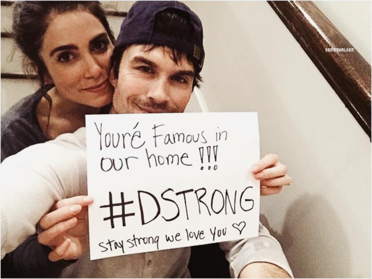 Janvier ->Ian et Nikki soutient le petit Dorian atteint d'un cancer.  Dorian Murray, un petit garçon de huit ans atteint d'un cancer incurable a un rêve avant de mourir, devenir célèbre. C'est comme ça que plusieurs stars dont Ian et Nikki ont contribuer a réalisé ce rêve en postant cette photo sur instagram.