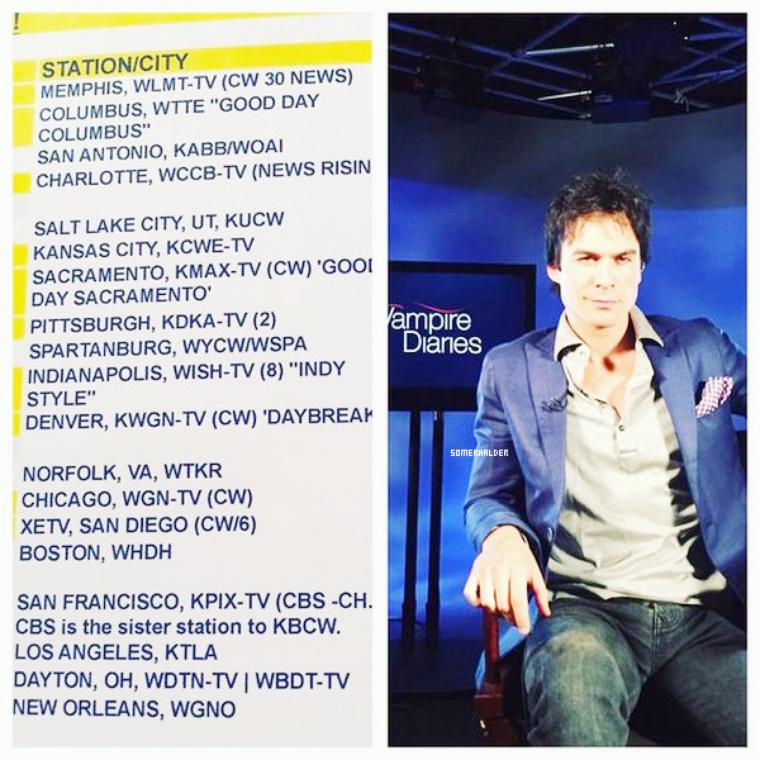 """Liste de plusieurs Interview de Ian prévus """"parlant de TVD et l'épisode qu'il a dirigé""""""""."""
