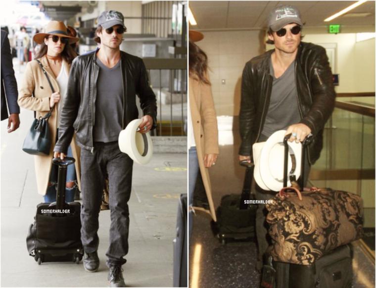 Ian et Nikki à l'aéroport de LAX le 18 mai.