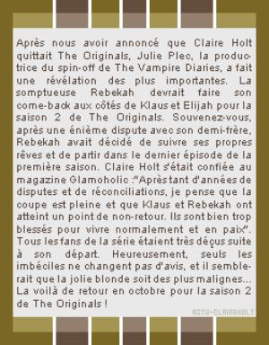 The Originals saison 2- Claire Holt, le retour