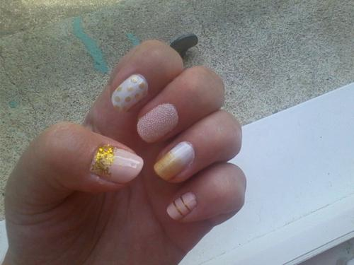 Nail art ~ Pink & Gold