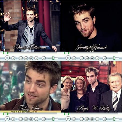 Mister Rob enchaîne show TV sur show TV! Après un tour en Europe pour la promo de Breaking Dawn, on le retrouve chez David Letterman, Jimmy Kimmel, Regis & Kelly, Jimmy Fallon et au Today Show!