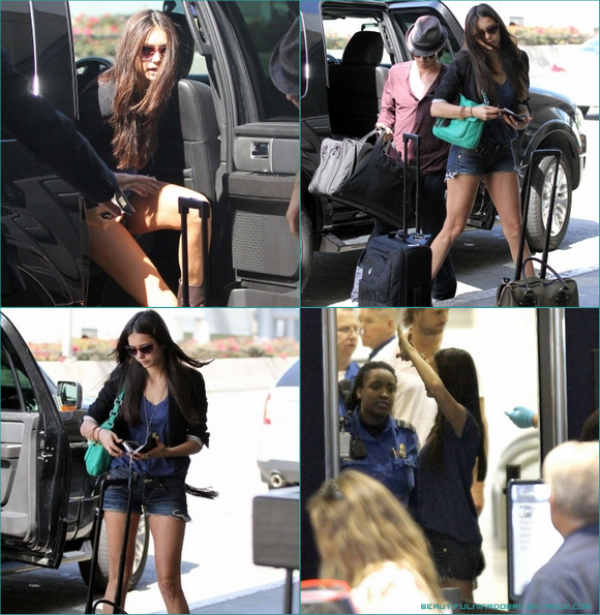 """* 8 août - Aéroport LAX, Los Angeles. - Nina & Ian ont pris l'avion pour aller à Atlanta. C'est là-bas qu'ils vivent en ce moment à cause du tournage de """"The Vampire Diaries""""*"""
