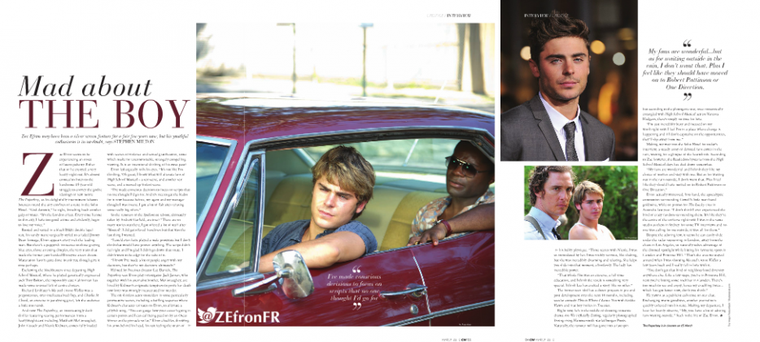 Interview de Zac pour  Canary Wharf Magazine - Mars 2013