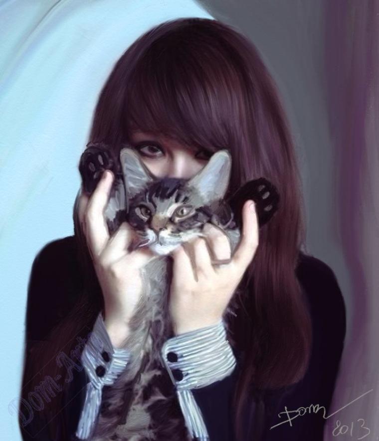 La très  belle Emilie  et son chat  !!!!!