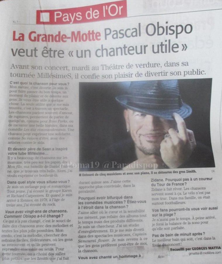 @ObispoPascal en interview dans @Midilibre avant ses concerts à APT et La Grande Motte