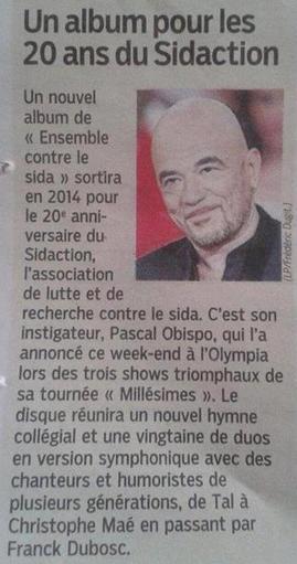 """2014 un album Evènement pour les 20 ans d"""" #EnsembleContreLeSida"""