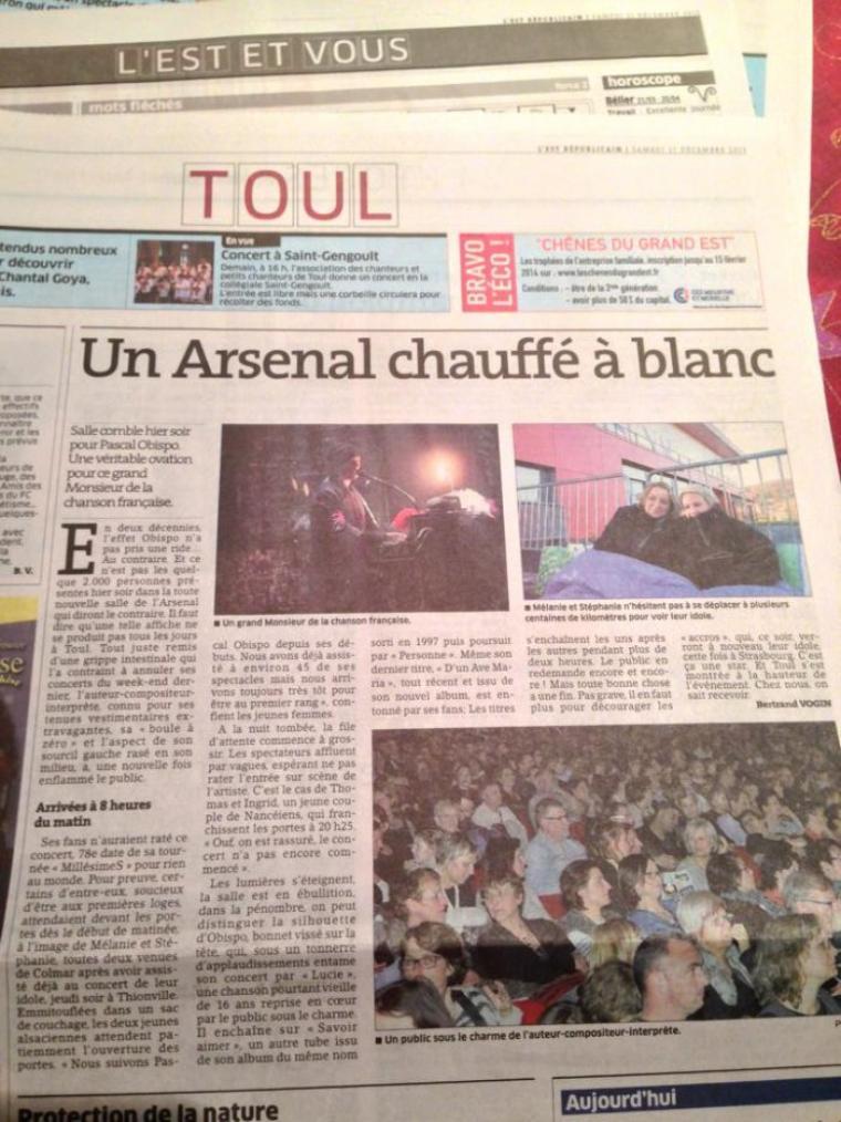 #MillésimeSTour tire le rideau sur 2013 ! @ObispoPascal fait chavirer Strasbourg, Thionville, Toul, Roanne, Voiron ...