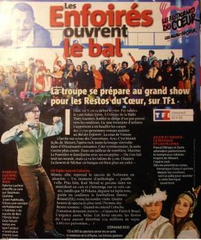 Article sur les Enfoirés 2012 (prog TV 11 au 17.03.12)