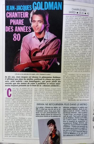 Article d'un programme télé 1987: Jean-Jacques Goldman chanteur phare des années 80