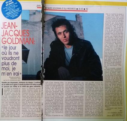"""Page d'un Télé Star: Jean-Jacques Goldman: Le jour où ils ne voudront plus de moi, je m'en irai"""""""