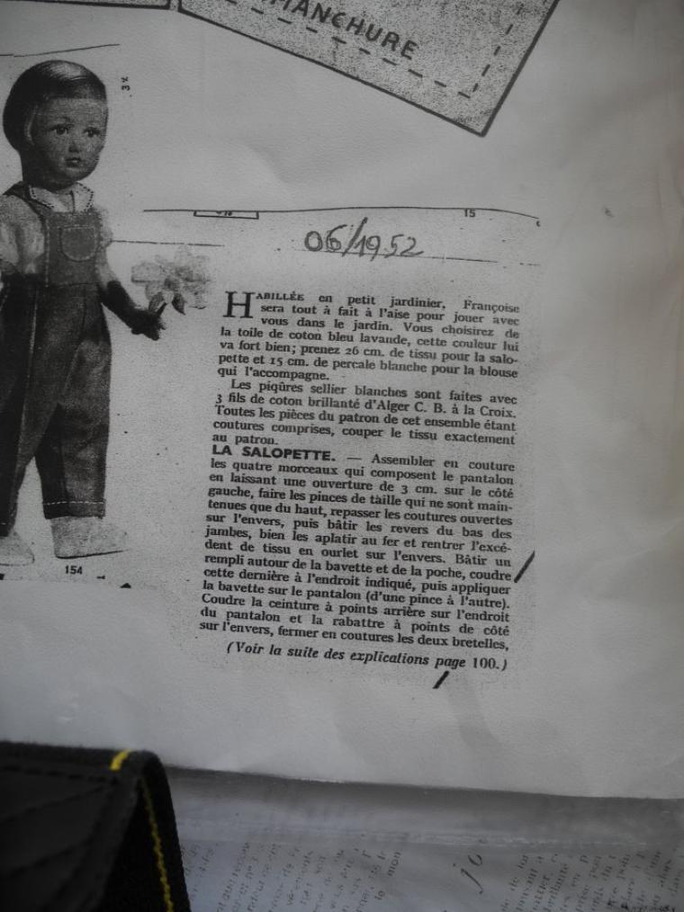 Françoise et la salopette de juin 1952