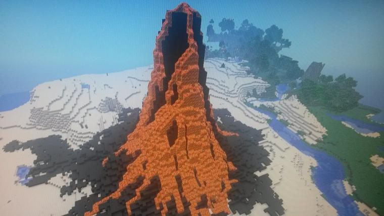 éruption volcanique sur minecraft