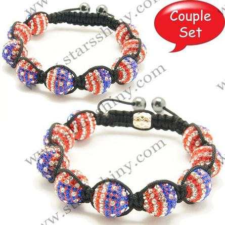 Shamballa Bracelet Couple Set, 14mm & 10mm round US flag clay A grade rhinestone beads