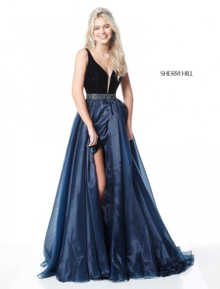 Sherri Hill 51409 Navy Evening Gowns 2017