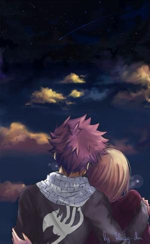 Natsu et Lucy sous les étoiles
