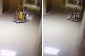 Un fantôme invisible filmé dans les couloirs d'une école
