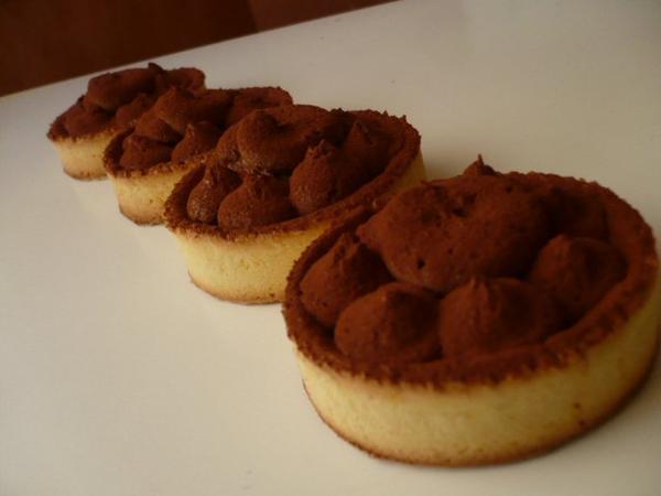 tartelettes à la ganache montée au chocolat noir