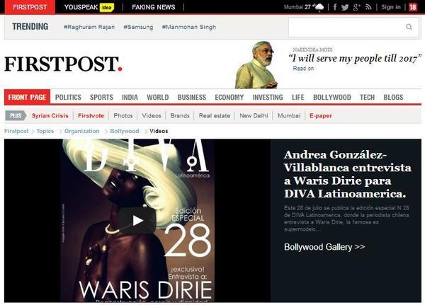 Entrevista de periodista Andrea González-Villablanca a Waris Dirie es un éxito en India.