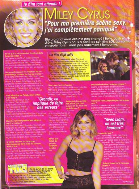 Article sur Miley