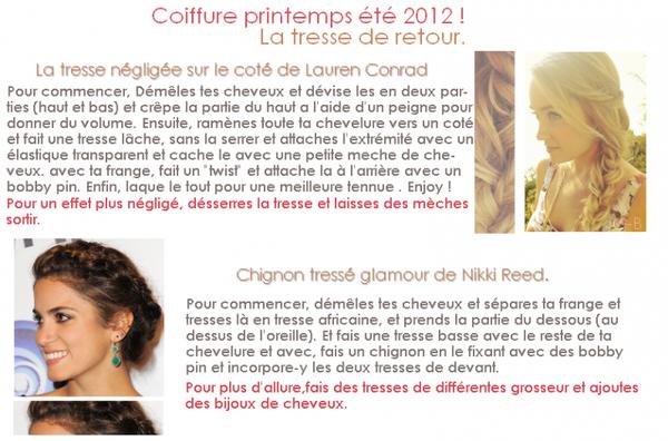 COIFURE : Quatres coiffures pour le printemps été 2012.