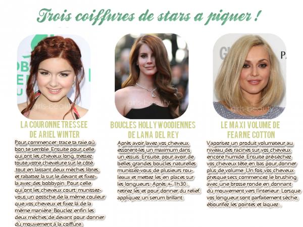 COIFFURE : Trois belles coiffures de stars à leur piquer !