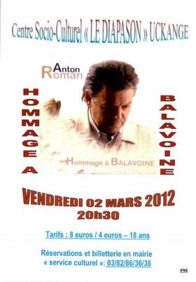 ANTON ROMAN Chante BALAVOINE le 2 Mars 2012 à Uckange