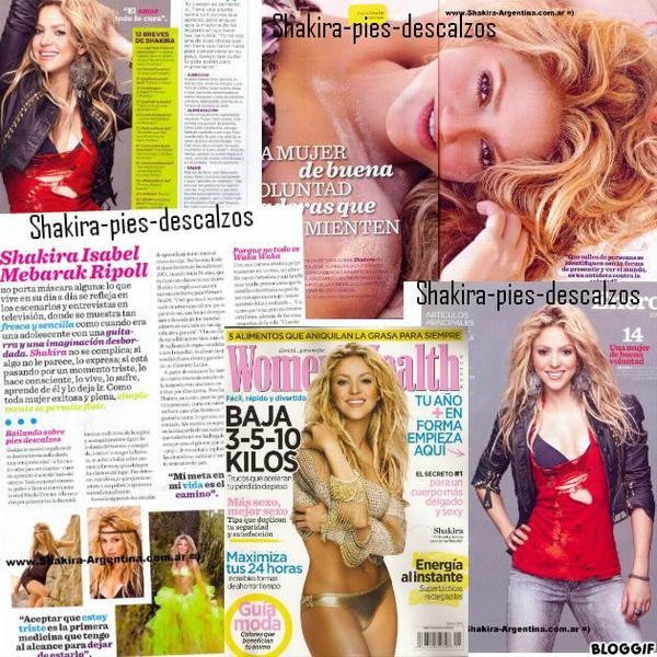 """Shakira dans le magasine """" Womens Health """" du mexique. Janvier 2012"""