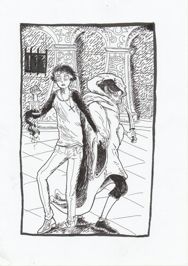 Deuxième essaie, Gabriel forme humaine et Kow ( l'héroïne) à côté.