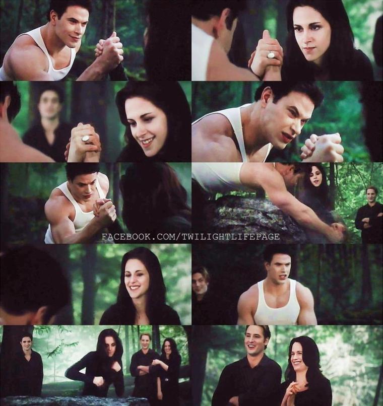 Bella et Emmett et bras de fer