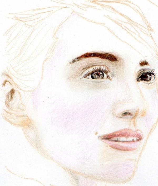 Portrait aux crayons de couleurs