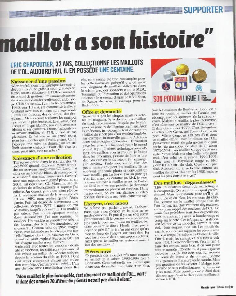 """Interview dans le magasine """"Planète Lyon"""" automne 2010"""