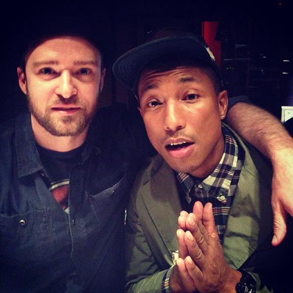 Pharrell en studio avec ... - New York - 4 juin 2013