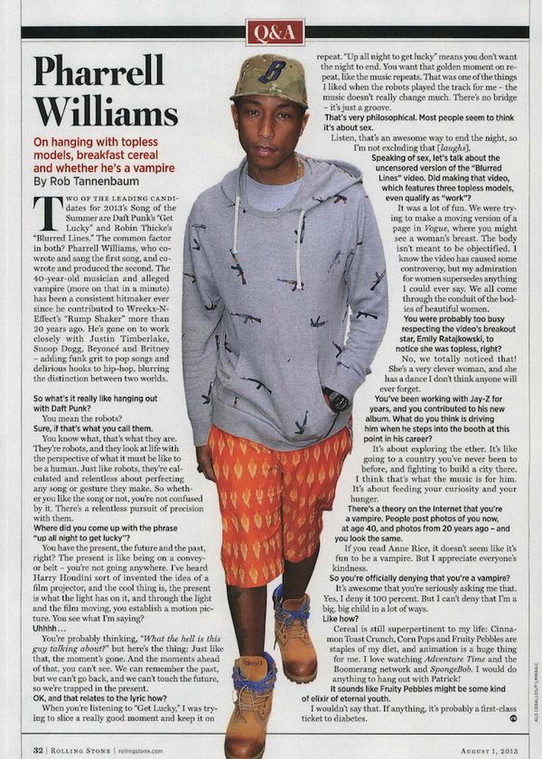 Interview de Pharrell dans Rolling Stone - Juillet 2013