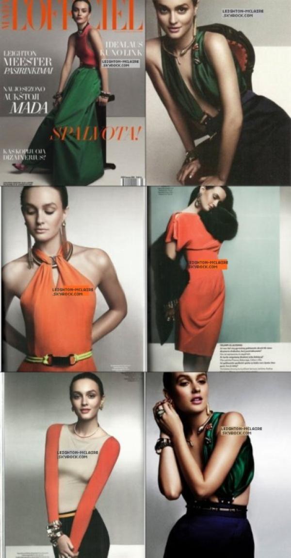 """● Flasback : Leighton fait la une du magasine """" L'Officiel """" du mois de Mars ."""