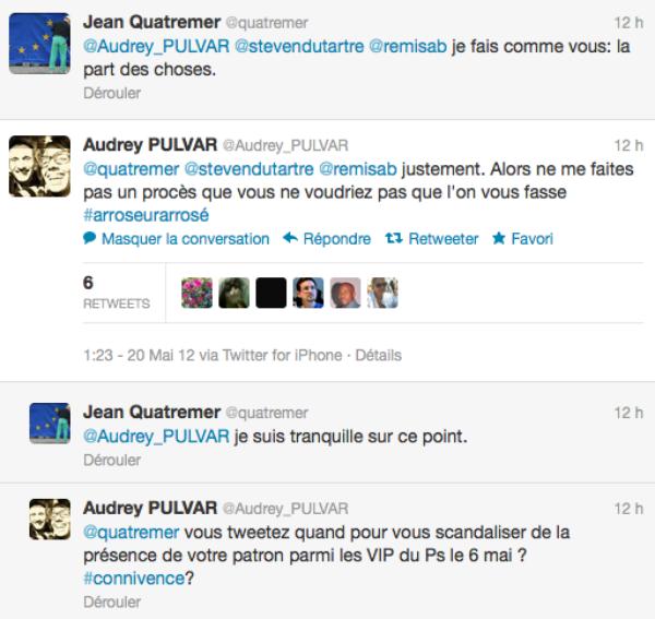Gros clash entre Audrey Pulvar et Jean Quatremer de Libération hier soir sur Twitter