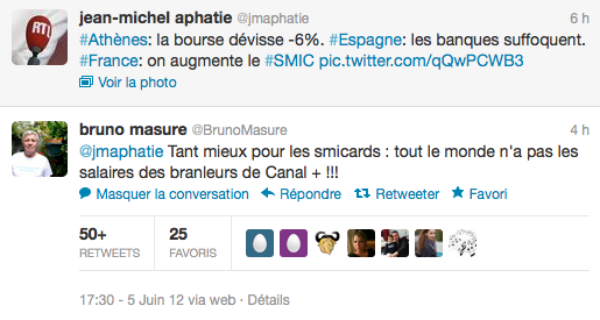 "Clash: Bruno Masure traite Jean-Michel Aphatie de ""branleur de Canal +"""