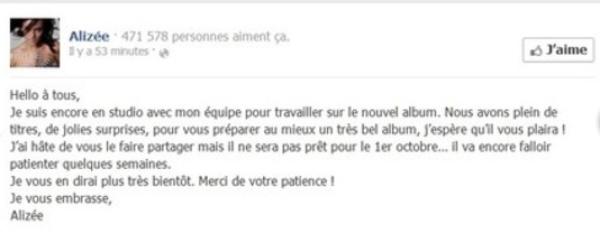 Alizée : Son prochain album repoussé de quelques semaines
