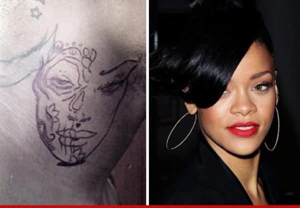 Chris Brown : S'est il fait tatouer le visage de Rihanna dans le cou ???