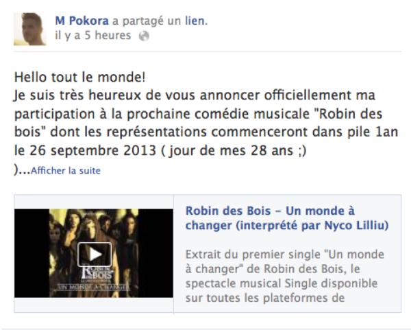 M.Pokora : Il confirme qu'il sera Robin des bois dans la comédie musicale