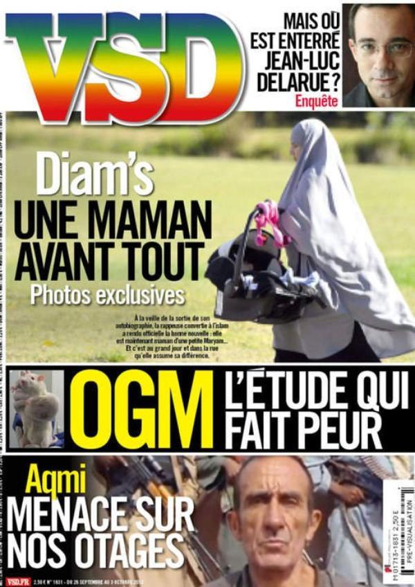 (Photo choc) Diam's : Elle fait la couverture du magazine VSD et y apparaît voilée, portant son bébé.