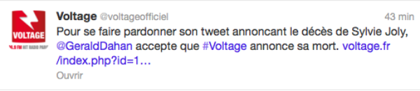 """VoltageFM : """"C'est Gérald Dahan qui nous a demandé d'annoncer sa mort sur Twitter"""""""