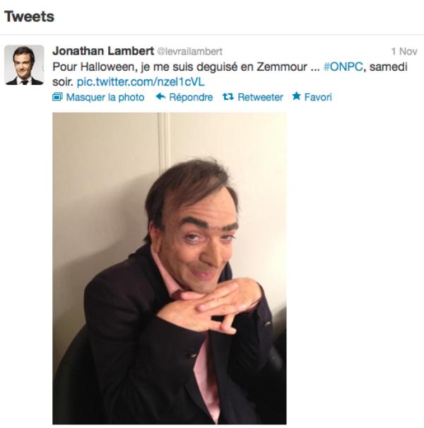 Jonathan Lambert : Pour ONPC il se déguise en... Éric Zemmour