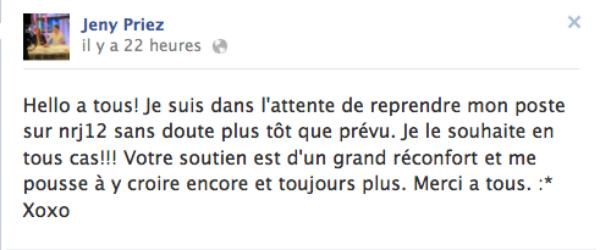 """Jeny Priez : Bientôt de retour dans """"Le Mag""""  sur NRJ12 ?"""