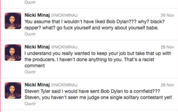 """Nikki Minaj: Elle clash Steven Taylor sur twitter: """"Va te faire f***** et occupe toi de tes oignons, bébé. """""""