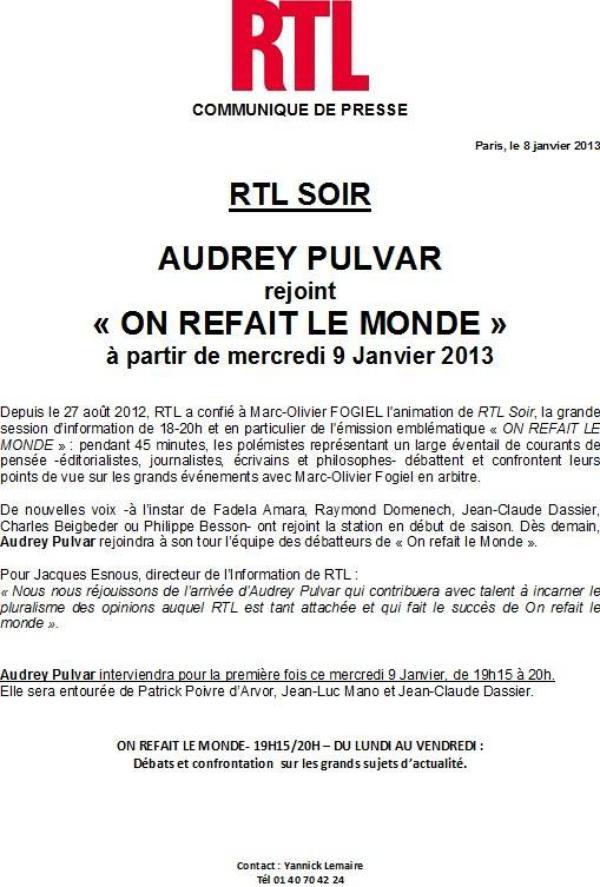 """Audrey Pulvar : Elle intègre l'équipe de Marc-Olivier Fogiel dans """"On refait le monde"""" !"""