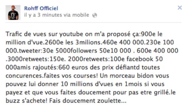 -EXCLU- Rohff: Il balance le tarif pour l'achat de faux amis facebook, vues bidon sur youtube et faux followers twitter