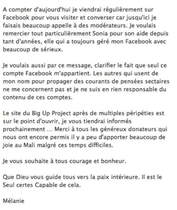 Diam's: Mélanie publie une lettre ouverte à ses fans sur son facebook