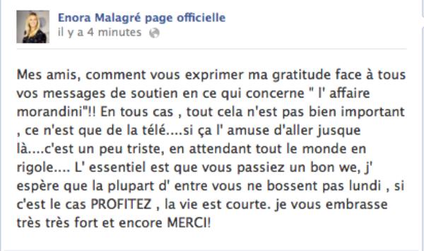 Enora Malagré: Elle réagit à la plainte de Jean Marc Morandini depuis sa page officielle facebook