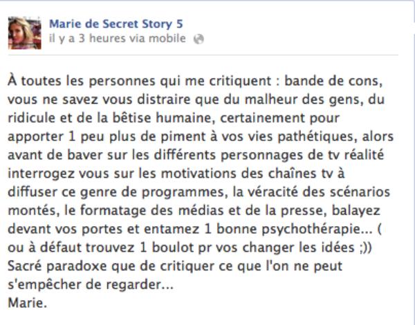 Les Anges 5 : Marie Garet s'emporte et répond à ses détracteurs sur Facebook
